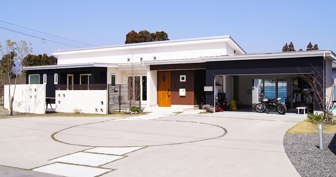 実例紹介 | 08.男の趣味の部屋から見えるビルトインガレージのあるお家